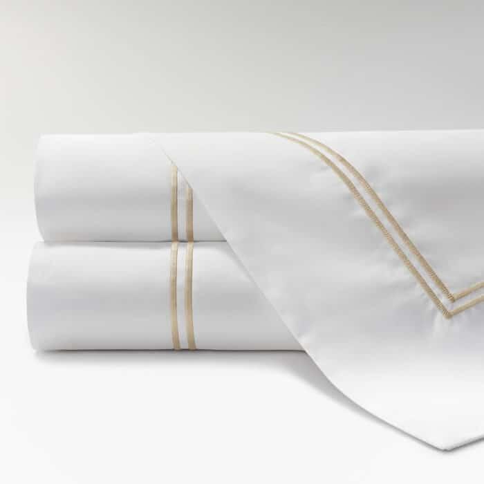 sábanas de Percal 600 2 festones beige