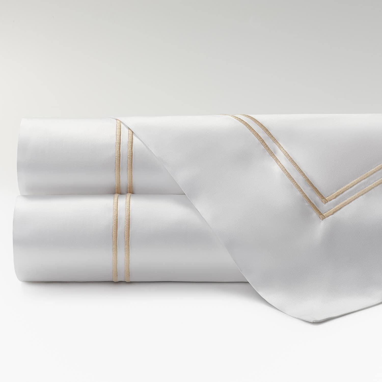 sábanas satén 300 hilos dos festones beige