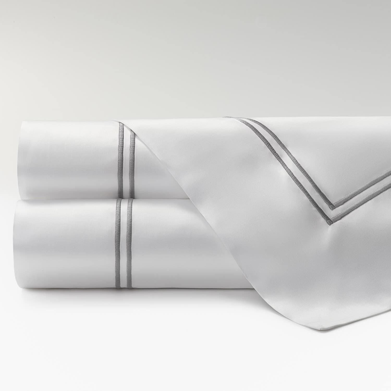 sábanas satén 300 hilos dos festones gris