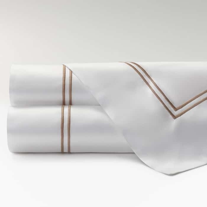 sábanas satén 300 hilos dos festones topo