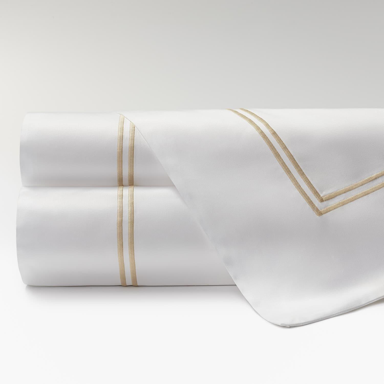 sábanas percal supima 600 hilos dos festones beige