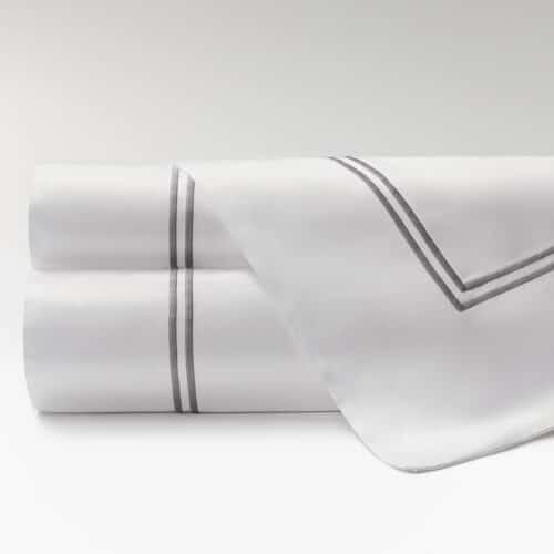 sábanas percal supima 600 hilos dos festones gris
