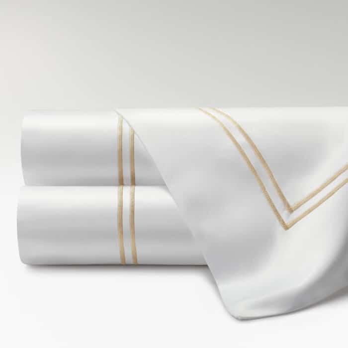sábanas percal supima 700 hilos dos festones beige