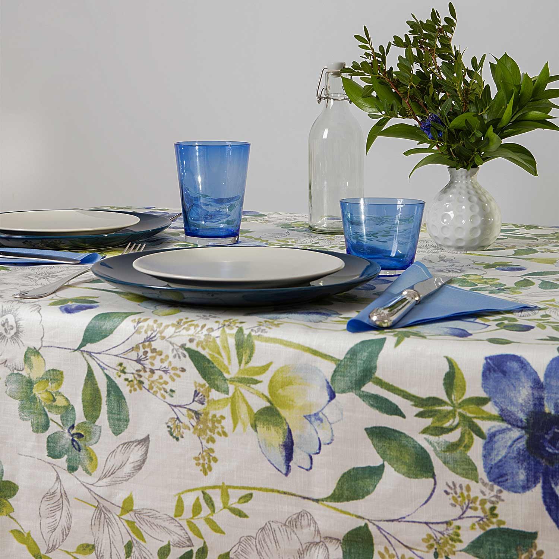 mantel resinado flores azules
