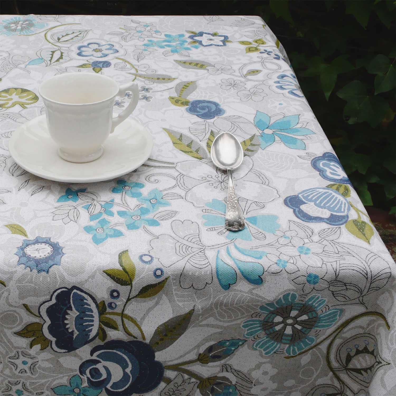 mantel antimanchas flores turquesas