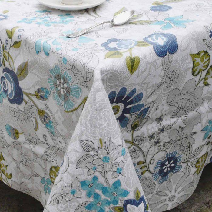 Mantel resinado flor turquesa