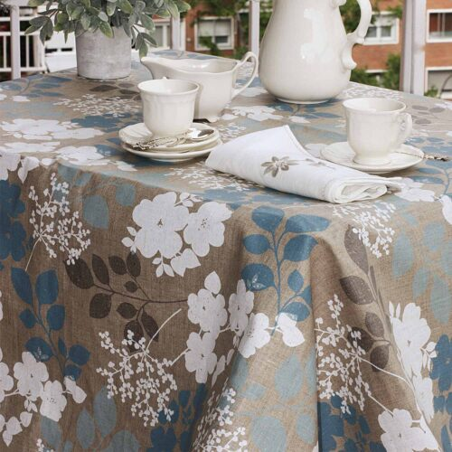 mantel resinado lino piedra con flores azules