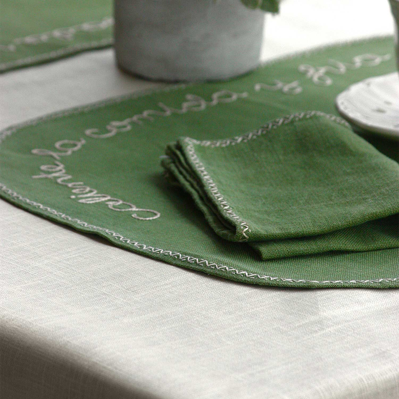 mantel resinado antimanchas lino crema