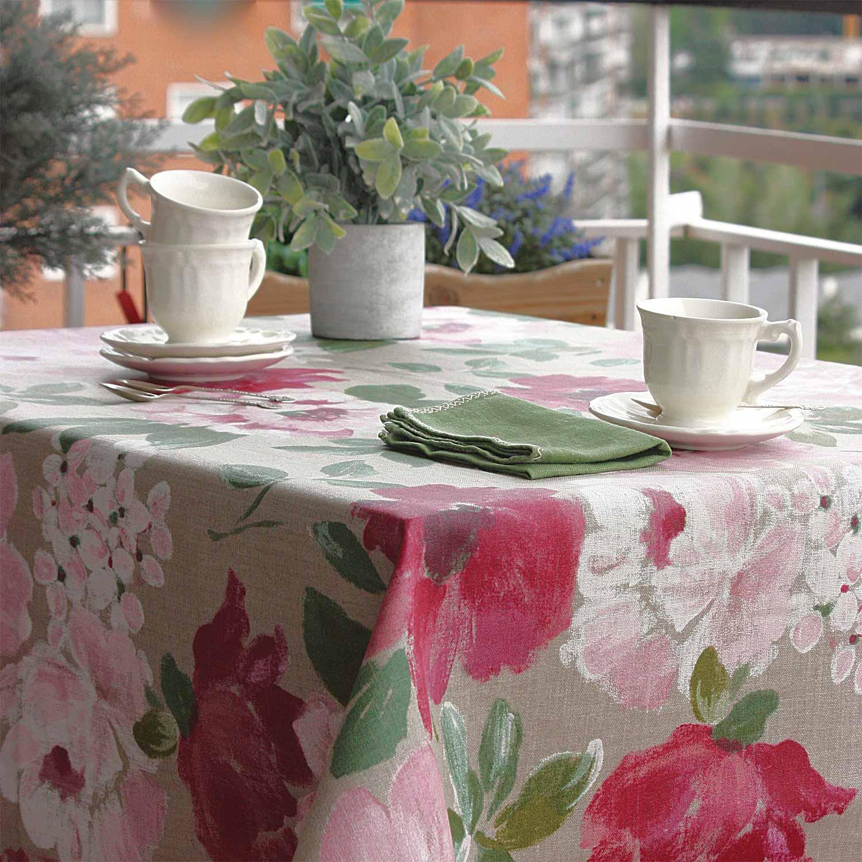 Mantel-resinado-de-lino-flores-rosas-y-verdes
