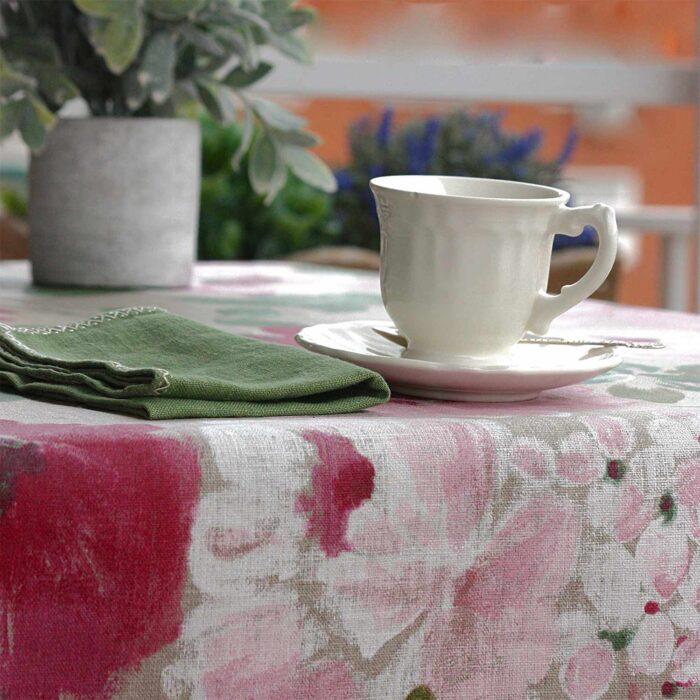 mantel lino resinado flores rosas