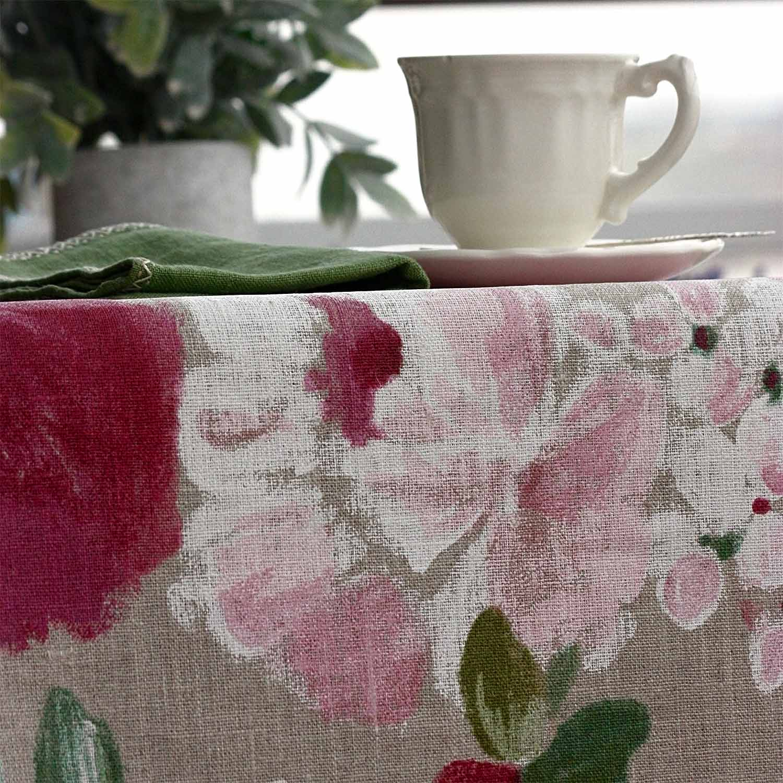 mantel lino antimanchas flores