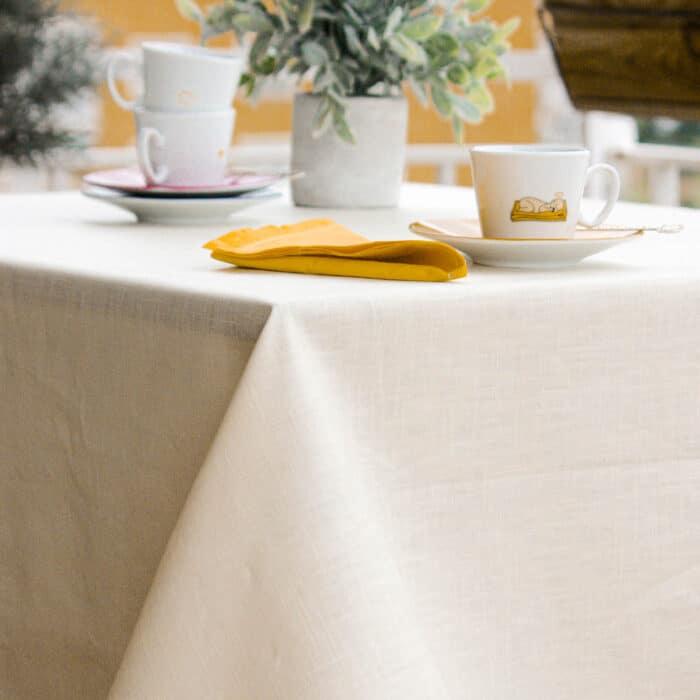 mantel antimanchas lino beige liso