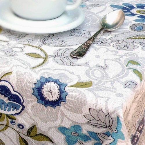mantel antimanchas flor turquesa